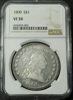 1800 DRAPED BUST SILVER DOLLAR NGC VF 30 -  BRIGHT