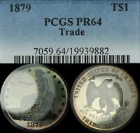 Click now to see the BUY IT NOW Price! 1879 PROOF TRADE SILVER DOLLAR PCGS PR 64   TONING