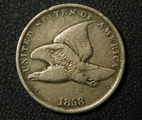 1858 SMALL LETTERS FLYING EAGLE CENT PENNY - CLEANED