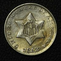 1852 THREE CENT SILVER TRIME PIECE - LUSTROUS