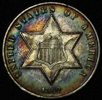 1860 THREE CENT SILVER TRIME PIECE - BEAUTIFUL W/ TONING