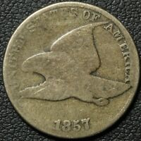 1857 CLASHED W/ SEATED LIBERTY HALF DOLLAR FLYING EAGLE CENT PENNY