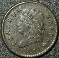1814 CLASSIC HEAD COPPER LARGE CENT - BEAUTIFUL - LIGHT ENVIRONMENTAL DAMAGE