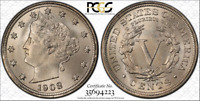 PCGS MINT STATE 66 1908 LIBERTY V NICKEL HIGH PLUS GRADE 5C  NONE FINER TOP POP 9/0