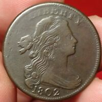 1802 DRAPED BUST LARGE CENT CHOICE  FINE S-232 T OVER Y EARLY COPPER 1C