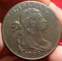 1798 S-171 DRAPED BUST LARGE CENT  EDS WITHOUT RIM BREAK CUD EARLY COPPER 1C