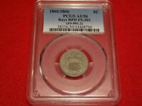 1866/1866 5C PCGS AU50  RPD FS-303 REPUNCHED DATE VARIETY SHIELD NICKEL