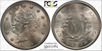 PCGS MINT STATE 66 CAC 1889 LIBERTY V NICKEL HIGH PLUS GRADE 5C  NONE FINER TOP POP 7/0