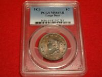 1820 1C PCGS MINT STATE 64RB RED BROWN UNCIRCULATED UNC CORONET HEAD LARGE CENT N-13