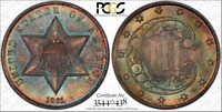 PCGS MINT STATE 67 1861 THREE CENT SILVER TOP POP TYPE 3 RAINBOW COLOR TONED TONING 3CS