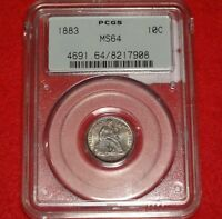 1883 10C PCGS MINT STATE 64 OGH NEAR GEM UNCIRCULATED UNC SEATED LIBERTY DIME TYPE COIN