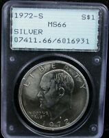 1972-S EISENHOWER SILVER $1 PCGS MINT STATE 66 PCGS OLD HOLDER