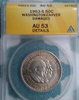1953-S WASHINGTON- CARVER COMMEMORATIVE HALF DOLLAR AU 53 DAMAGED ANACS