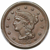 1855 BRAIDED HAIR LARGE CENT, UPRIGHT 5S, N-4, LDS, REVERSE CUDS, PCGS MINT STATE 63BN
