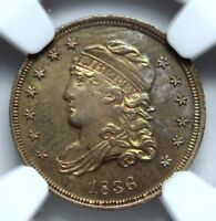 1836 CAPPED BUST HALF-DIME, NGC UNC DETAIL, RAINBOW TONING, IMPROPERLY CLEANED