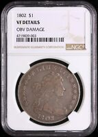 1802 DRAPED BUST DOLLAR NGC VF DETAILS -  LOW MINTAGE