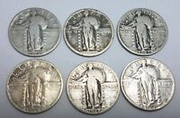 BARGAIN LOT OF 6 STANDING LIBERTY QUARTERS INCLUDING 1918 AT 30 DISCOUNT