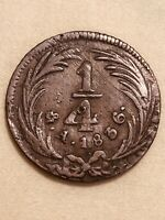 1836 MEXICO 1/4 REAL FIRST REPUBLIC COPPER COIN MO MINT VER