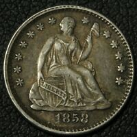 1858 SEATED LIBERTY SILVER HALF DIME   SLIGHT LUSTER