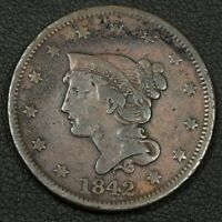 1842 BRAIDED HAIR COPPER LARGE CENT