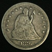 1876 S SEATED LIBERTY SILVER QUARTER