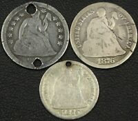 LOT OF 3 REALLY UGLY SEATED COINS: 18XX S 10C 1876 CC 10C & 1869 S? H10C