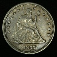 1877 SEATED LIBERTY SILVER QUARTER   CLEANED