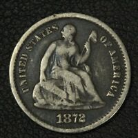 1872 S SEATED LIBERTY SILVER HALF DIME