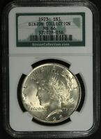 1923 PEACE SILVER DOLLAR BINION HOARD COLLECTION NGC MS 66