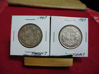 LOT OF 2 CANADA  SILVER  HALF  DOLLAR  50 CENT PIECE  1947 C. AND S.  SEMI KEY'S