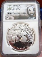 2015 CHINA SILVER PANDA FIRST REVERSE PROOF NGC PF70 FUN SHOW 6000 MINTAGE 1 OZ