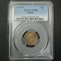 1909 S INDIAN HEAD CENT COPPER PENNY PCGS VF 30
