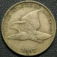 1857 CLASHED WITH SEATED LIBERTY HALF DOLLAR FLYING EAGLE CENT   STRONG STRIKE