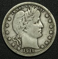1911 D BARBER SILVER QUARTER   KEY DATE