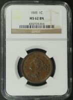 1845 BRAIDED HAIR COPPER LARGE CENT NGC MS 62 BN   UNCIRCULATED