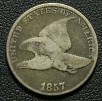 1857 CLASHED WITH SEATED LIBERTY HALF DOLLAR FLYING EAGLE CENT