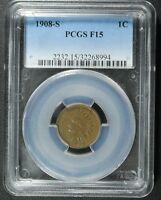 1908 S INDIAN HEAD CENT PENNY PCGS F 15