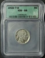1918/7 D BUFFALO NICKEL ICG G 06   1918 OVER 7 D    OVERDATE