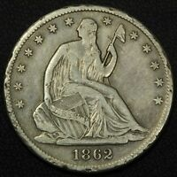 1862 S SEATED LIBERTY SILVER HALF DOLLAR   RIM NICKS