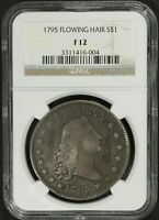 Click now to see the BUY IT NOW Price! 1795 2 LEAVES FLOWING HAIR SILVER DOLLAR NGC F 12