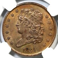 1834 C-1 NGC MINT STATE 63 BN CLASSIC HEAD HALF CENT COIN 1/2C