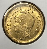 CHILE 1895 GOLD 10 PESOS COIN XF AU CONDITION