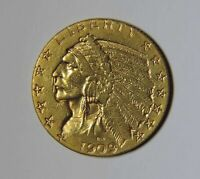 1909 S US $5 FIVE DOLLAR INDIAN HEAD HALF EAGLE GOLD COIN