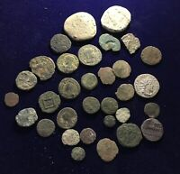 ROMAN BRONZE & SILVER COINS   32 IN TOTAL