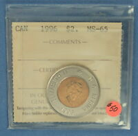 CANADA   1996   TWO DOLLARS TOONIE    ICCS GRADED MS 65