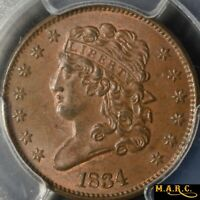 1834 MINT STATE 64BN PCGS 1/2C CLASSIC HEAD HALF CENT, CLASHED DIES GREAT COLOR MARC