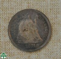 1871 S SEATED LIBERTY HALF DIME   ABOUT UNCIRCULATED DETAILS