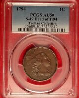 1794 1C PCGS AU50 ALMOST UNCIRULATED EARLY COPPER LARGE CENT S-49 HEAD OF 94