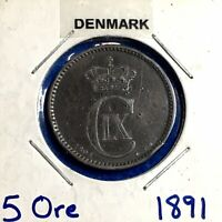 1891  H CS DENMARK 5 ORE   HIGHER GRADE   NICE ALL ORIGINAL COIN