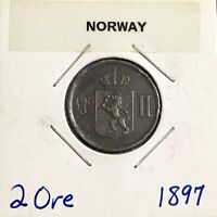 1897 NORWAY 2 ORE   NICE ALL ORIGINAL COIN